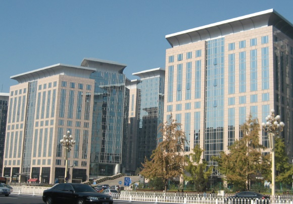 office blocks along a boulevard near tiananmen square