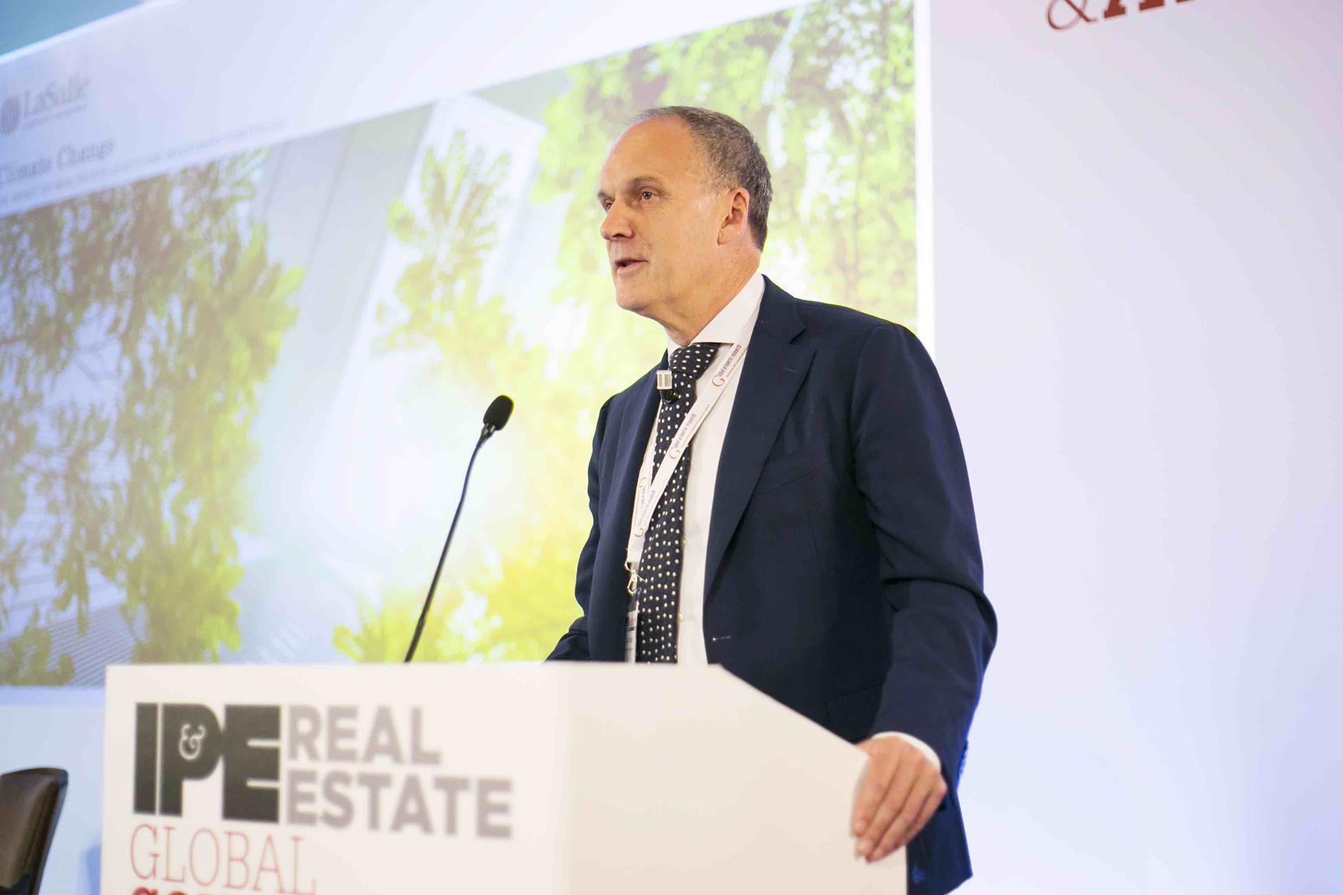 David Ironside of LaSalle, speaking at the IPE Real Estate conference in Milan