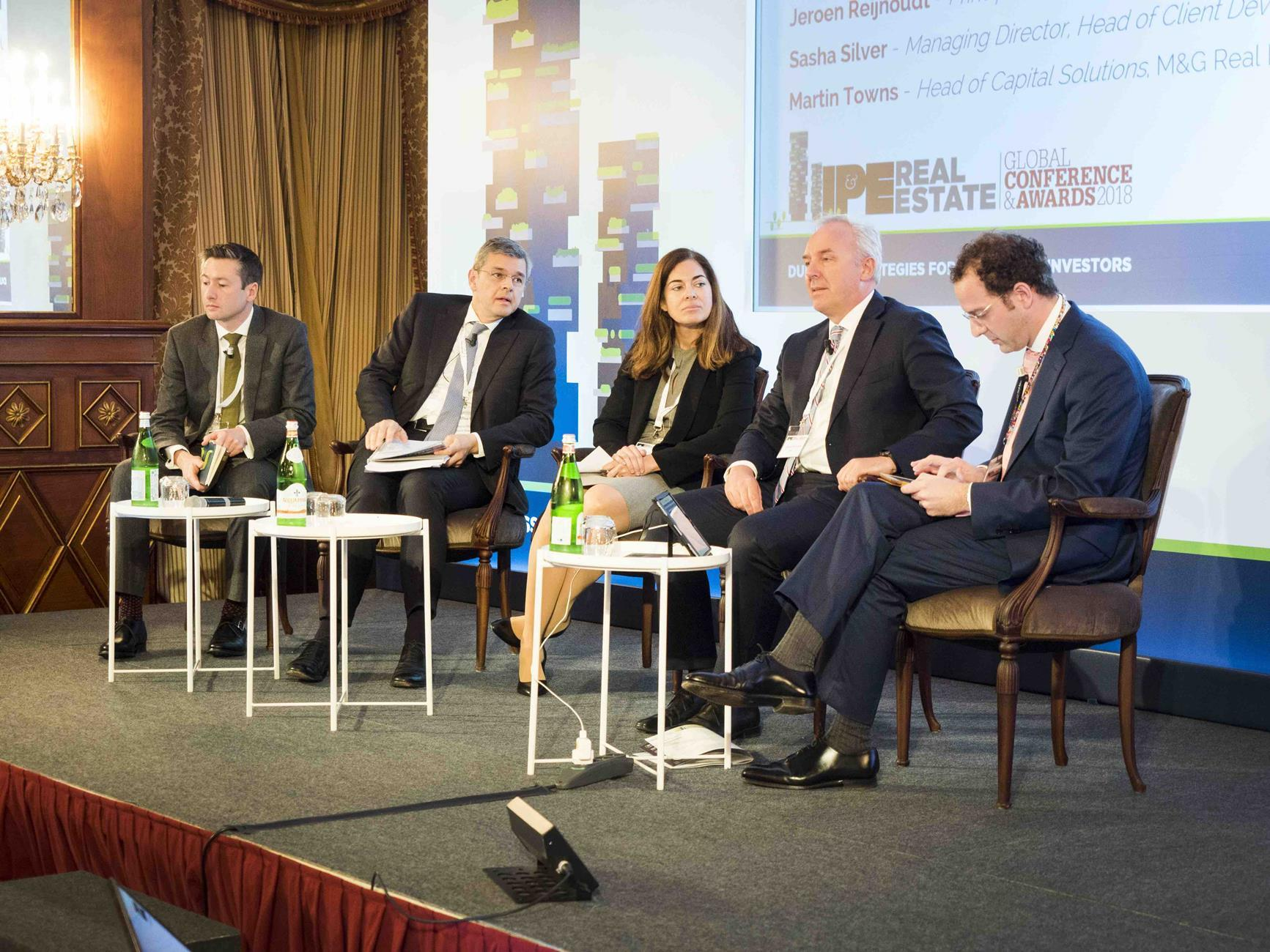 Investment structures panel at the IPE Real Estate conference in Milan