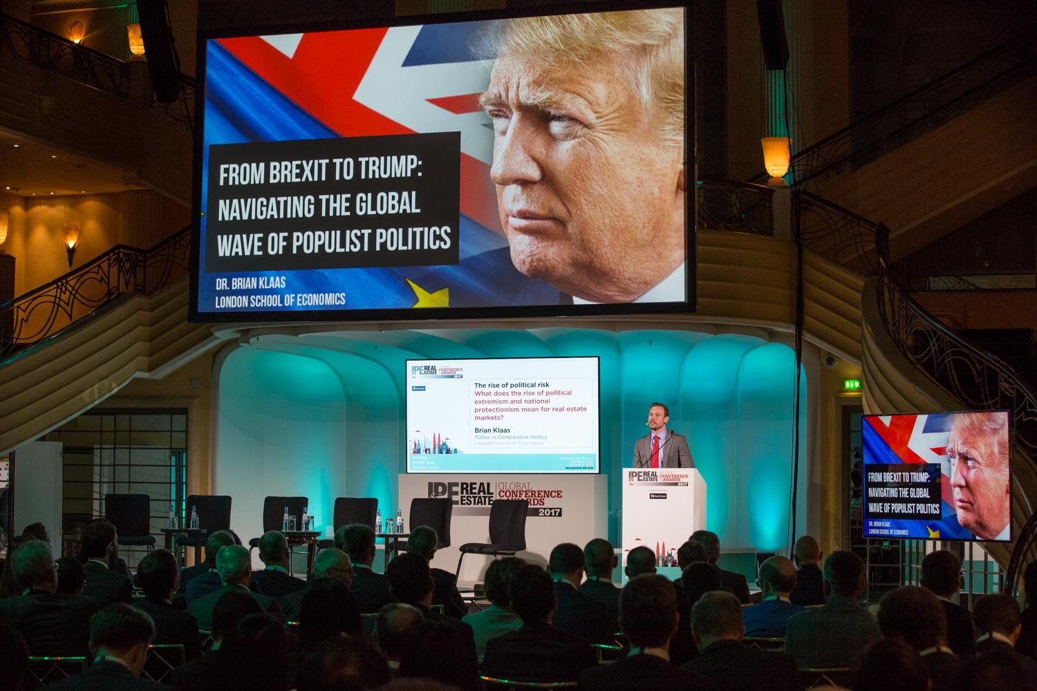 Brian Klass talks about global politics at the IPE Real Estate conference in Munich